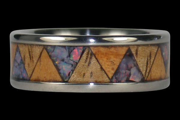 Red Opal and Exotic Wood Titanium Tribal Ring Band
