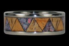 Red Opal and Exotic Wood Titanium Tribal Ring Band - Hawaii Titanium Rings