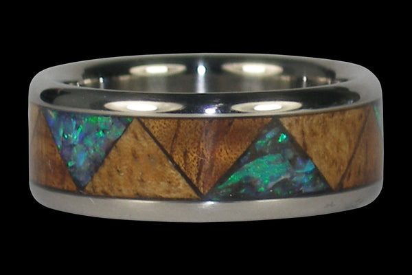 Green Opal and Hawaiian Wood Titanium Ring Band