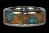 Green Opal and Hawaiian Wood Titanium Ring Band - Hawaii Titanium Rings