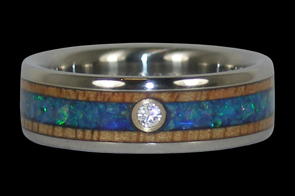 Diamond and Blue Opal Titanium Ring