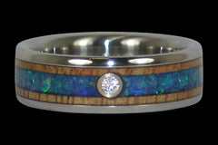 Diamond and Opal Titanium Ring - Hawaii Titanium Rings