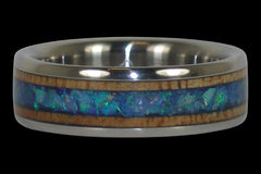 Blue Opal and Mango Wood Titanium Ring - Hawaii Titanium Rings