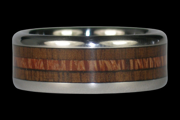 Walnut and Mac Nut Wood Titanium Ring