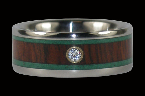 Malachite and Kingwood Diamond Titanium Ring