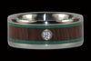 Malachite and Dark Koa Diamond Titanium Ring - Hawaii Titanium Rings  - 1