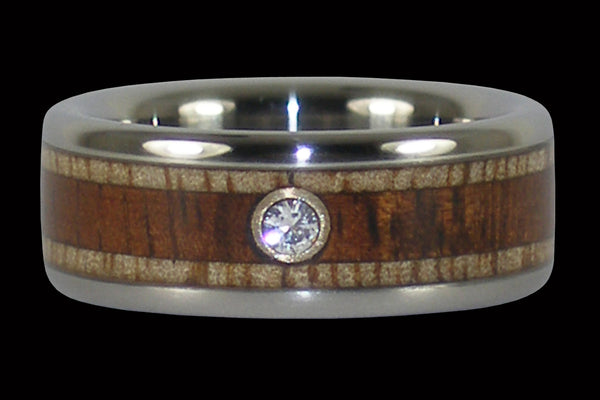 Titanium Engagement or Wedding Ring with Hawaiian Wood and Diamond