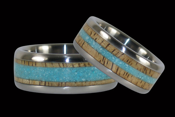 Mango Wood and Turquoise Titanium Ring Set