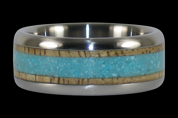 Blue Turquoise and Mango Titanium Ring