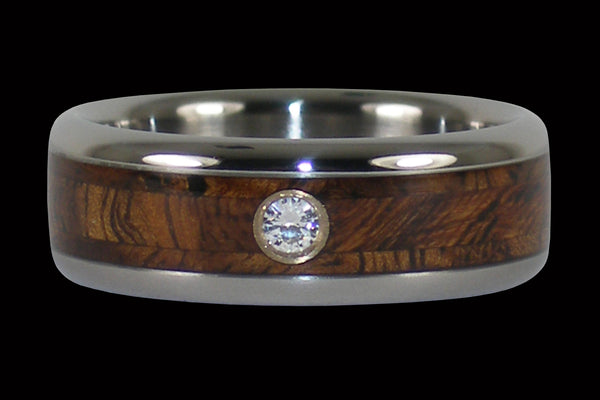 Tiger Koa Diamond Titanium Ring