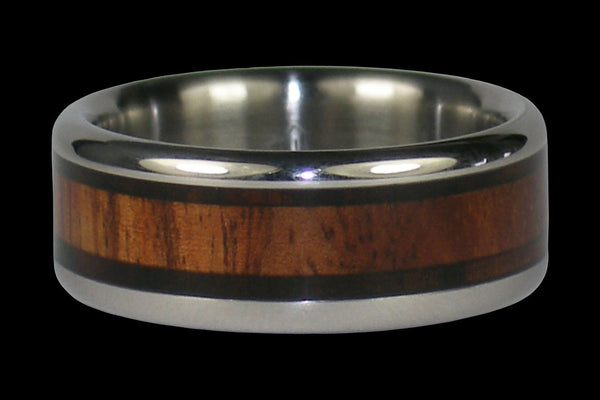 Mun Ebony and Curly Koa Wood Titanium Ring