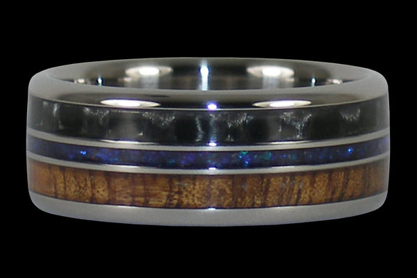 Men's Titanium Ring with Triple Layer Design