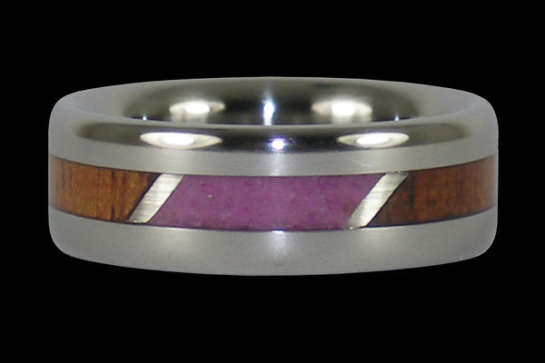 Pink Sugilite and Hawaiian Koa Wood Titanium Ring