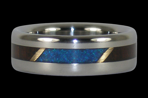 Brazilian Rosewood and Blue Opal Titanium Ring