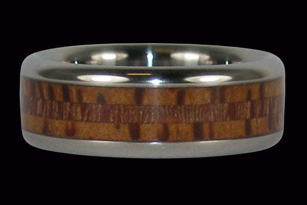 Palm and Mac Nut Wood Titanium Ring