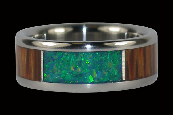 Kiwi Opal and Palm Wood Titanium Ring