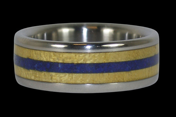 Yellow Wood and Blue Stone Titanium Ring