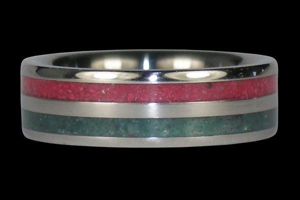 Pink Ruby and Emerald Titanium Ring