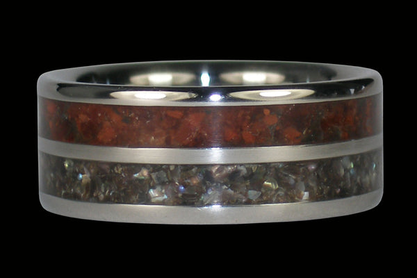 Black Pearl Red Tigers Eye Titanium Ring