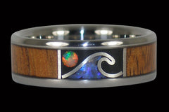 Opal Wave Ring for Surfers - Hawaii Titanium Rings  - 1