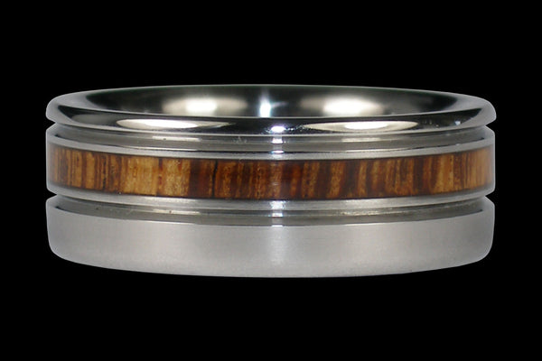 Palm Wood Titanium Ring Band