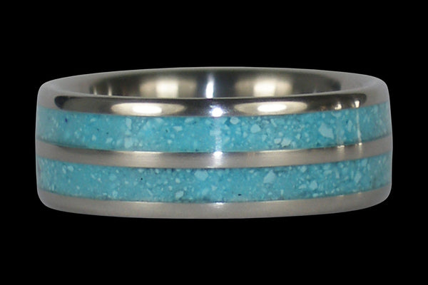 Blue Turquoise Double Banded Titanium Ring