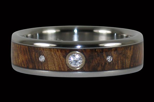 Enchanted Three Diamond Koa Wood Titanium Ring