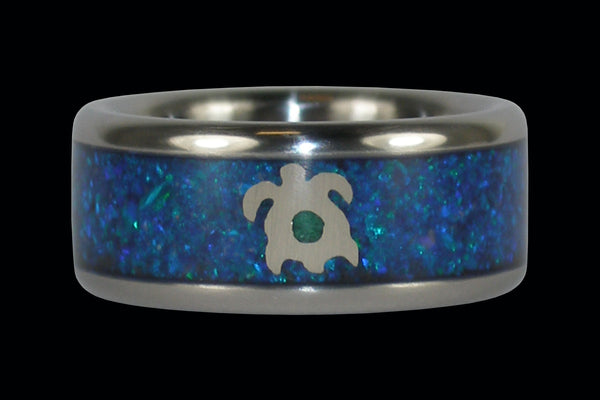 Opal Titanium Ring with White Gold Turtle