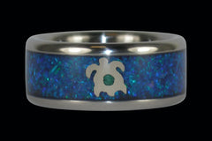 Opal Titanium Ring with White Gold Turtle - Hawaii Titanium Rings  - 1