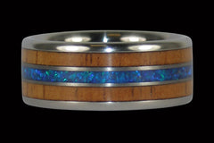 Fire Koa and Synthetic Opal Titanium Ring - Hawaii Titanium Rings