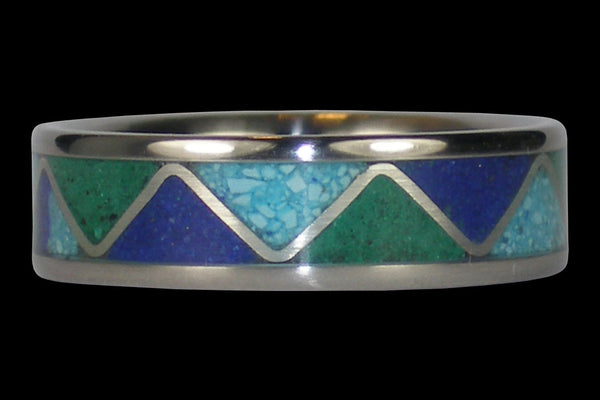 Stone Inlay Tribal Titanium Ring