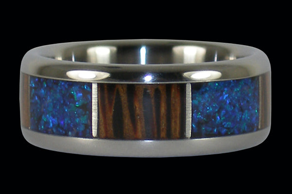 Synthetic Opal and Palm Wood Titanium Ring