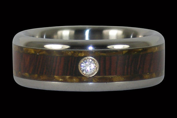 Gold Tigers Eye Diamond Titanium Ring