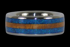 Hawaiian Koa and Peacock Opal Titanium Ring - Hawaii Titanium Rings  - 1
