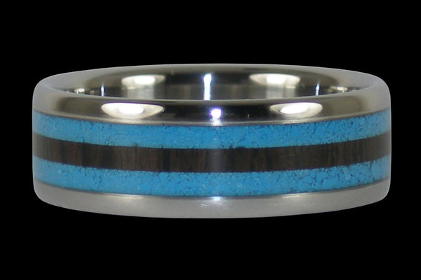 Blue Turquoise and Black Wood Titanium Ring