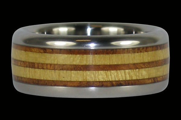Wood Race Track Titanium Ring