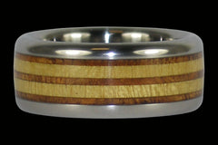 Wood Race Track Titanium Ring - Hawaii Titanium Rings  - 1