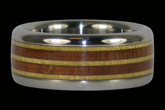 Hawaiian Koa and Pau Amarello Titanium Ring - Hawaii Titanium Rings