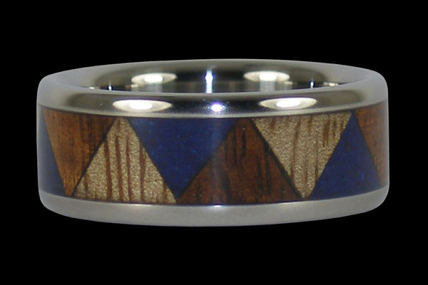 Koa and Mango Wood with Lapis Tribal Hawaii Titanium Ring®