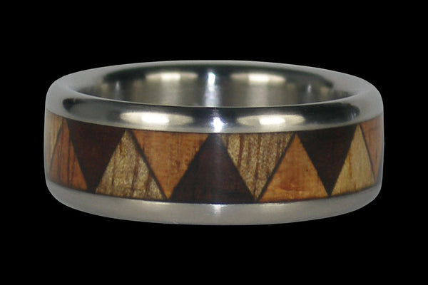 Wood Inlay Titanium Ring for Drummers