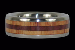 Tulip and Purple Heart Wood Titanium Ring - Hawaii Titanium Rings