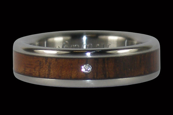 Dark Koa and Diamond Titanium Ring