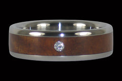 Diamond Tiger Koa Titanium Ring Band - Hawaii Titanium Rings