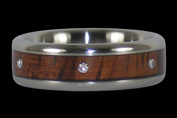 Dark Koa Three Diamond Titanium Ring