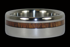 Dark Koa Offset Inlay Titanium Ring - Hawaii Titanium Rings  - 1