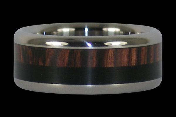 Double Wood Inlay Titanium Ring