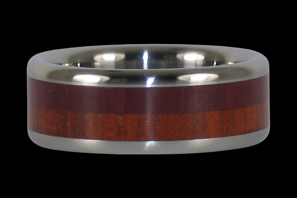 Purple Heart and Bloodwood Titanium Ring