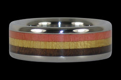 Triple Wood Inlay Titanium Ring - Hawaii Titanium Rings  - 1