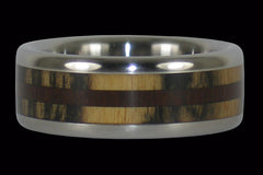 Milo Wood and Ebony Titanium Ring - Hawaii Titanium Rings