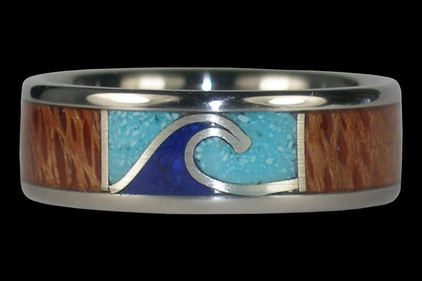 Wave Titanium Ring for Surfers